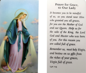 Prayer Card Prayer For Grace To Our Lady Laminated TJP-716