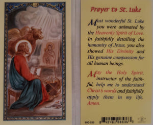 Prayer Card Prayer To Saint Luke Laminated 800-536