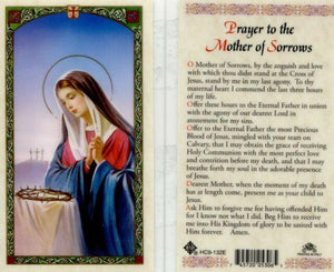 Prayer Card Prayer To The Mother Of Sorrows Laminated HC9-132E