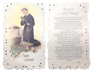 Prayer Card Prayer To Saint Gerard For A Safe Delivery Embossed Scalloped Edge No Laminated Italy NC