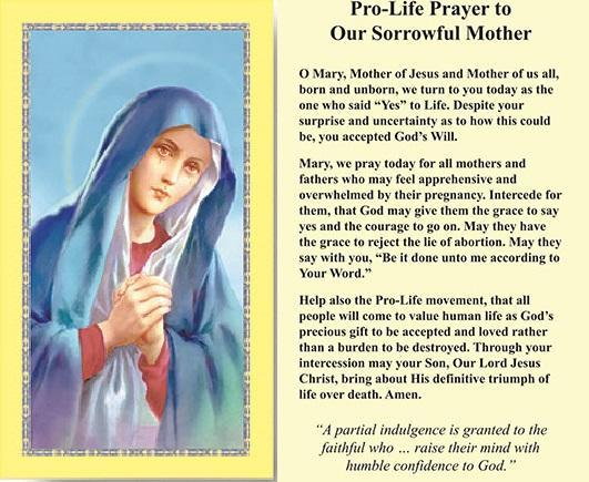 Prayer Card Pro-Life Prayer To Our Sorrowful Mother No Laminated CC598