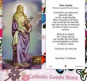 Prayer Card Saint Agatha Patroness Against Breast Diseases Laminated HC-AH