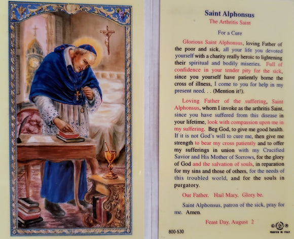 Prayer Card Saint Alphonsus The Arthritis Saint Laminated 800-530