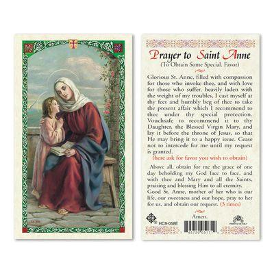 Prayer Card Prayer To Saint Anne To Obtain Some Special Favor Laminated HC9-058E
