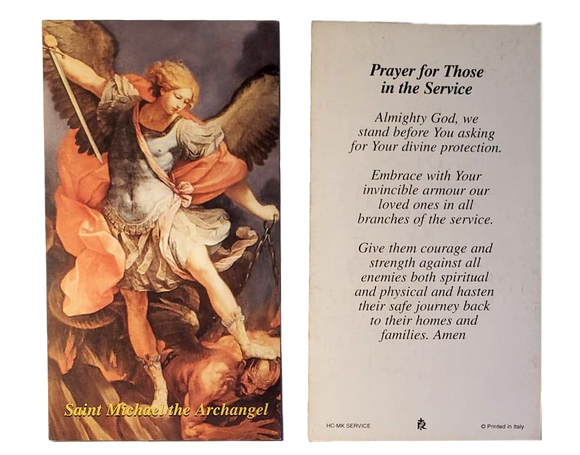 Prayer Card Prayer For Those In The Service Saint Michael Archangel No Laminated HC-MK Service