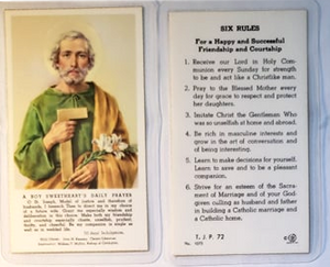 Prayer Card Six Rules A Boy Sweetheart's Daily Prayer Laminated TJP72
