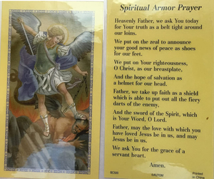 Prayer Card Spiritual Armor Prayer No Laminated BC500