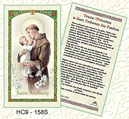 Prayer Card Trece Minutos A San Antonio De Padua SPANISH Laminated HC9-158S