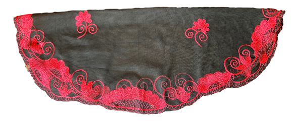 Sacrament Lace Veil Mass Head Coverings Mantilla Hand-Crafted Oval Shape Black Detailing Crimson