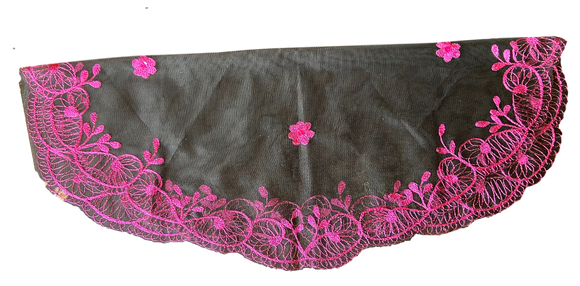 Devotional Sacrament Lace Veil Mass Head Coverings Mantilla Hand-Crafted Oval Shape Black Detailing Fuschia