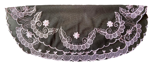 Devotional Sacrament Lace Veil Mass Head Coverings Mantilla Hand-Crafted Oval Shape Black Detailing Periwinkle