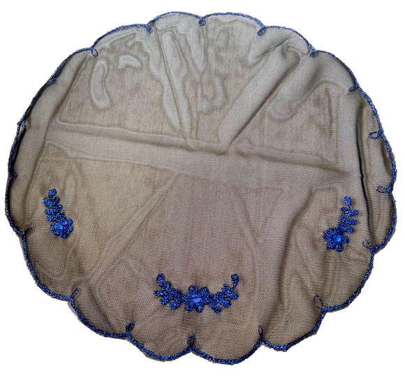Devotional Sacrament Lace Veil Mass Head Coverings Mantilla Hand-Crafted Round Shape Black Detailing Blue