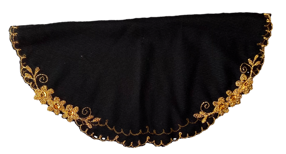 Devotional Sacrament Lace Veil Mass Head Coverings Mantilla Hand-Crafted Round Shape Black Detailing Gold