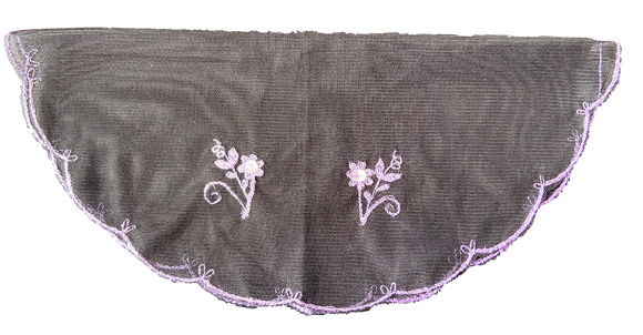 Devotional Sacrament Lace Veil Mass Head Coverings Mantilla Hand-Crafted Round Shape Black Detailing Lilac