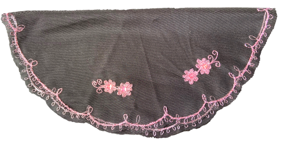 Devotional Sacrament Lace Veil Mass Head Coverings Mantilla Hand-Crafted Round Shape Black Detailing Pink