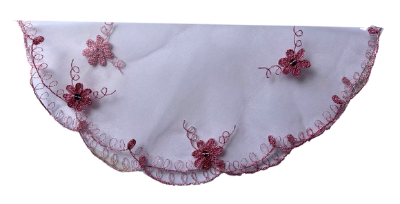 Devotional Sacrament Lace Veil Mass Head Coverings Mantilla Hand-Crafted Round Shape Pink DetailingPink 2 Child