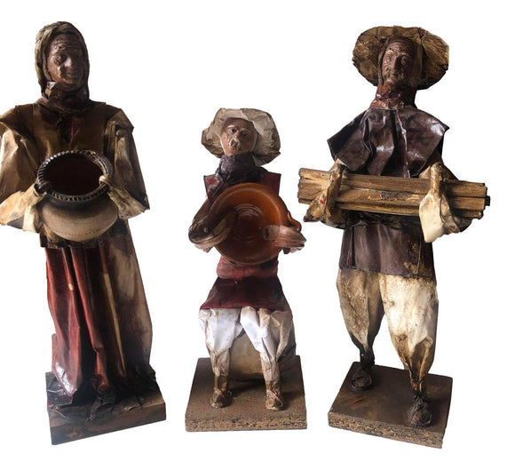 Statues Mexican Folk Art Rustic Vintage Handcrafted Paper Mache Elder Villagers Figurine on Wood Base Set of 3
