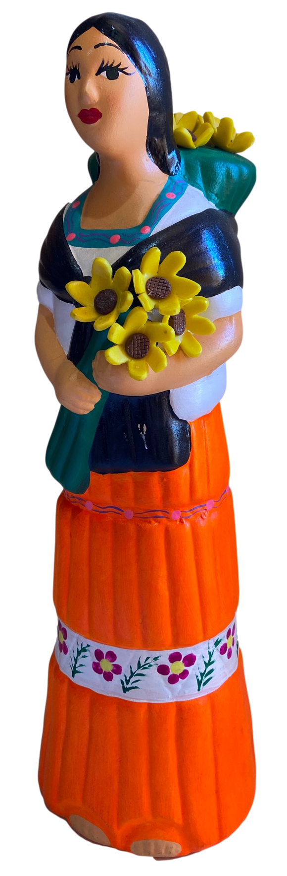 Tabletop Art Ceramic Figurine Lupita Gathering Sunflowers Handcrafted and Painted in Mexico 14
