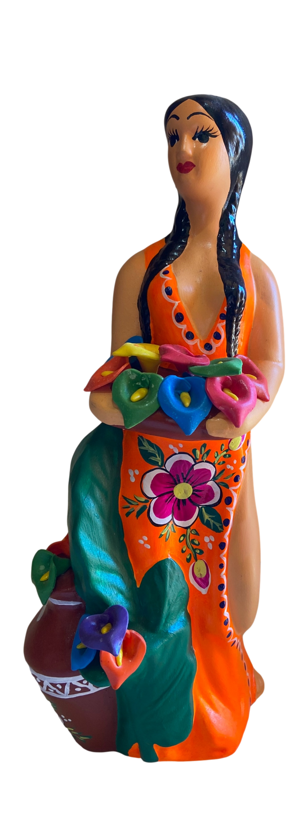 Tabletop Art Ceramic Figurine Lupita Standing Flowers Pottery Handcrafted and Painted in Mexico 13