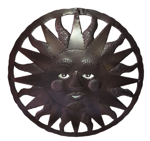 Wall Art Sun Face from Haiti Metal Handcut Recycled Steel Drums No Electric Tools Used 23