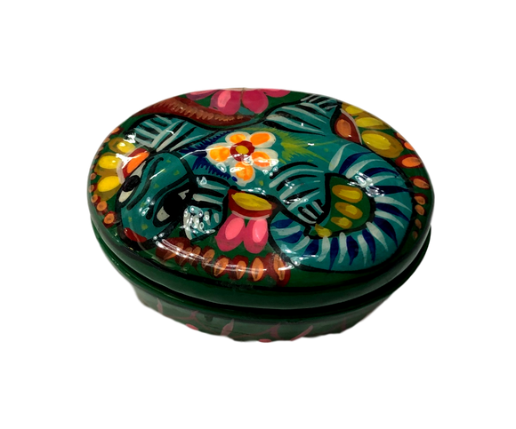 Jewelry Box Ceramic Lizard Small Hand-Crafted Skilled Mexico Artist