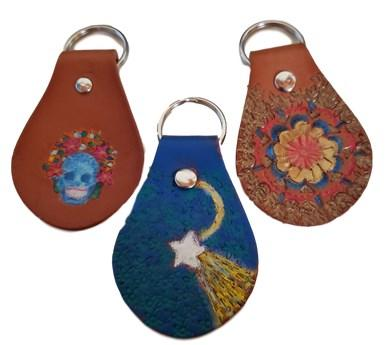 Keychain Leather Hand Stamped and Hand-Painted