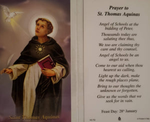Prayer Card Prayer To Saint Aquinas Laminated HC-TQ
