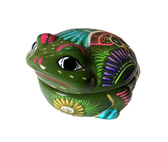 Jewelry Box Ceramic Frog Made In Mexico
