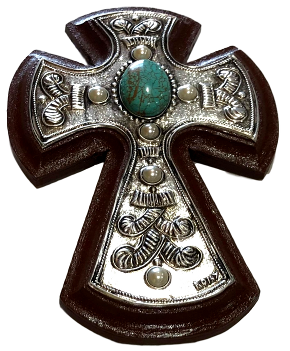 Cross Repujado Turquoise Stones Design On Repujado Metal Hand-Crafted Local El Paso Artist Romy Hawkins