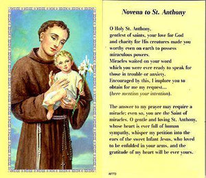 Prayer Card Novena To Saint Anthony Laminated AF773