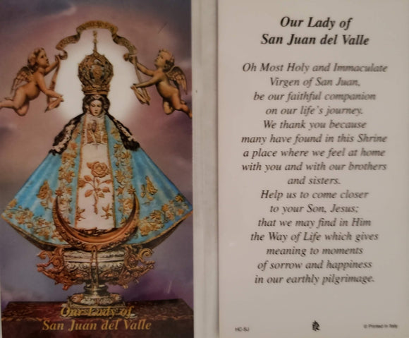 Prayer Card Our Lady Of San Juan Del Valle Laminated HC-SJ