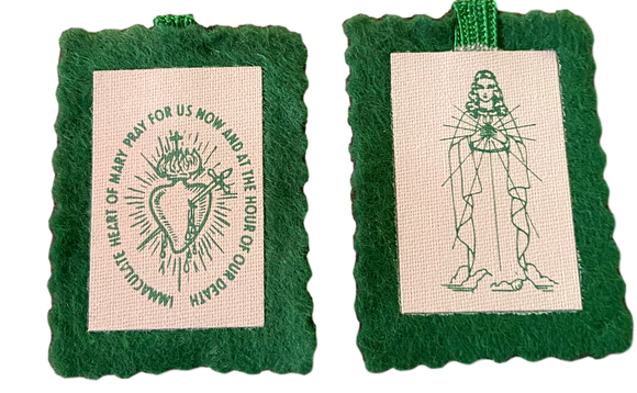 Scapular Immaculate Heart of Mary Single Badge No String Wool Green With Green Cord