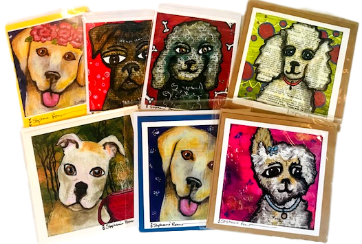 Paper Good Greeting Card Dogs Frameable Rectangle Hand-Crafted Local El Paso Artist Stephanie Romero