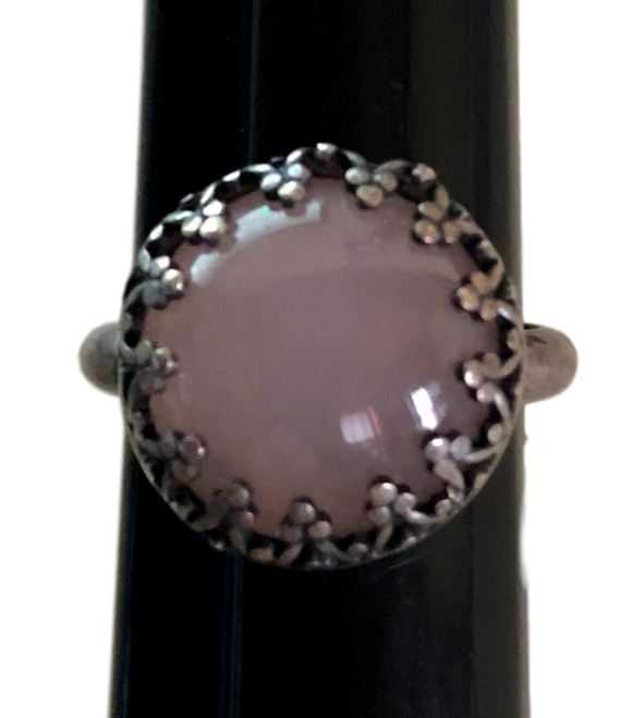 Sterling Silver Jewelry Ring Round Sterling Silver Pink
