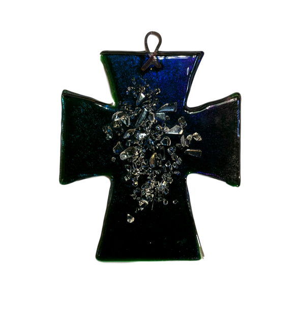 Cross Iridescent Fused Glass Hand-Crafted Local New Mexico Artist