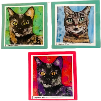 Paper Good Greeting Card Cats Multiple Frameable Design Hand-Crafted Local El Paso Artist Stephanie Romero