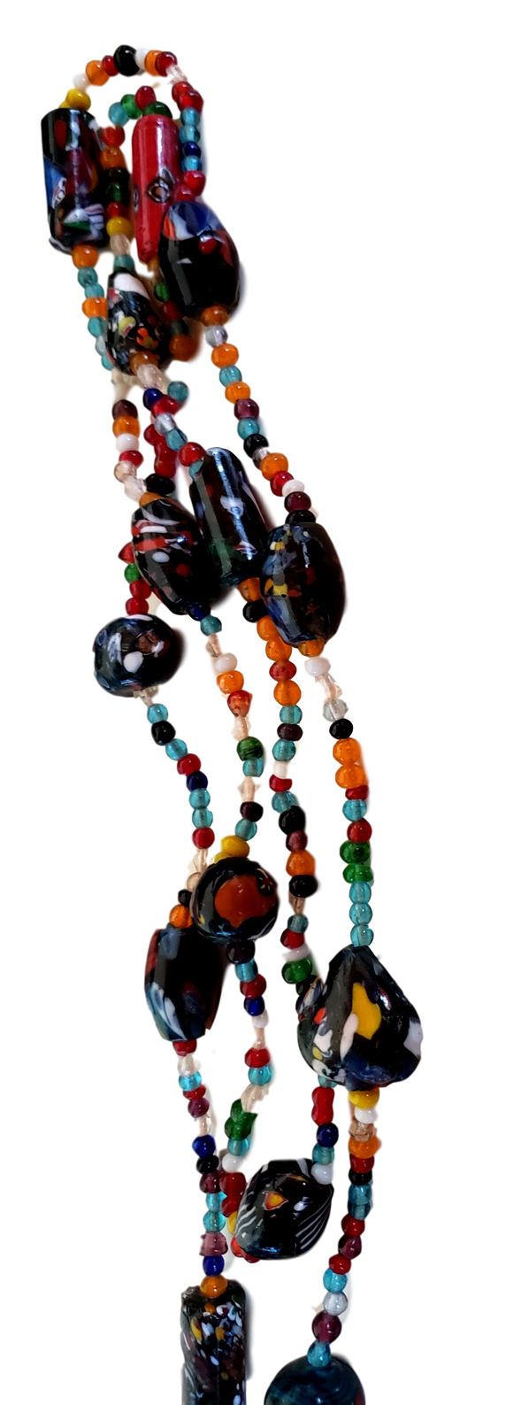 Jewelry Necklace Handmade Fused Glass Confetti Beads Various Colors Textures