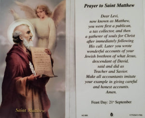 Prayer Card Prayer To Saint Matthew Feast Day 21st September Laminated HC-MW