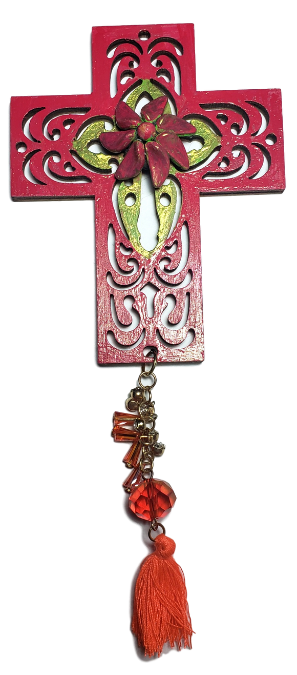 Cross Wooden Small Scrolled Hand-Painted With  Accessories Various Colors