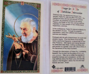 Prayer Card Prayer For Saint Pio Of Pietrelcina Intercession Laminated HC9-488E