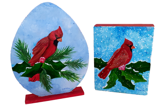 Home Good Wood Holiday Cardinal Images Handpainted By Local Artist Ramon Valenzuela