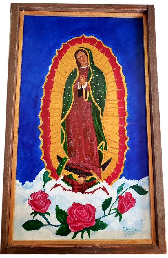 Decor Virgen De Guadalupe Frame Handpainted Local Artist Ramon Valenzuela