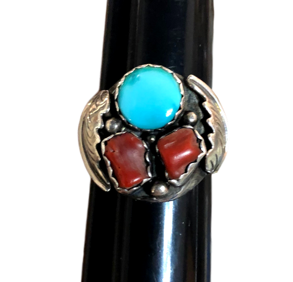 Jewelry Ring Turquoise Stone 16.1 grams .92 Orange/Red Stones Sterling Silver .925