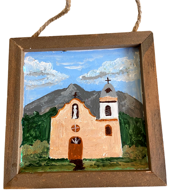 Souvenir Frame Small Wood Mission Handpainted by El Paso Artist Ramon Valenzuela