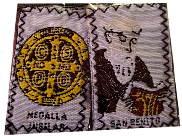 Scapular San Benito Saint and Gold Medalla Stitched Image in Color Brown Wool With Brown Cord