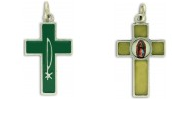 Rosary Parts Green Enamel Cross with PAX Symbol / Our Lady of Guadalupe NO JUMP RINGS