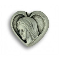 Rosary Parts Heart Shaped Our Lady of Medjugorje Metal Beads 12 pc.