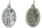 Medallion Guardian Angel / Pray for Us Oxidized Medal - 7/8 inch