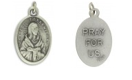 Medal Saint Kateri Tekakwitha Patron Saint of Environment and Ecology Pray for Us Italian Silver Oxidized 1 inch