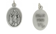 Medallion Queen of the Most Holy Rosary Pray for Us Italian Silver Oxidized 1 inch